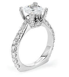 R479-From Michael M. Collection Handcrafted U-set diamond and pave ring with princess cut side bezels.