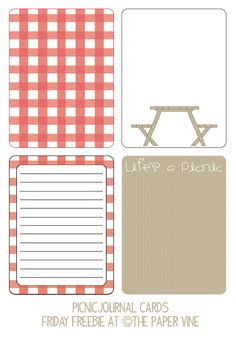 Free Picnic Journal Cards from The Paper Vine