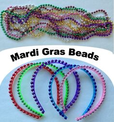 Beaded Headbands - Easy to make with Mardi Gras Beads Mardi Gras handicrafts for children. Sweet headbands are super easy to make. Wear one or more. Mardi Gras Beads, Mardi Gras Party, Cute Headbands, Beaded Headbands, Operation Christmas Child, Holiday Crafts For Kids, Preschool Crafts, Kids Crafts, Birthday Party Favors