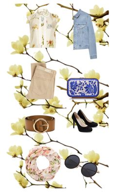 """""""basic combine with floral"""" by wilypr on Polyvore featuring Gucci, AG Adriano Goldschmied, Acne Studios, Katrin Langer, STELLA McCARTNEY and New Look"""