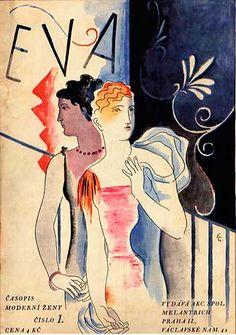 By Alexandr Vladimír Hrska (1890-1954), Časopis Eva, titulní strana (Eva Magazine cover). (Czech)