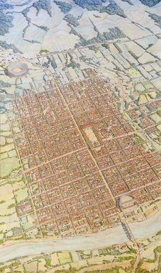 Augustoritum Civitas Lemovicum (Limoges) by Jean-Claude Golvin Fantasy World Map, Fantasy City, Fantasy Castle, Architecture Antique, Roman Architecture, Historical Architecture, Ancient Rome, Ancient History, Architecture Romaine