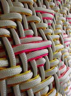 pink and yellow ✿ Woven ropes by Dani Marti. Textile Design, Textile Art, Fabric Design, Modern Tapestries, Textiles Techniques, Textile Texture, Weaving Textiles, Fabric Manipulation, Woven Fabric