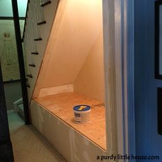 under the stairs book nook basement ideas home improvement repurposing upcycling shelving ideas stairs Under Basement Stairs, Under Stairs Nook, Basement Staircase, Staircase Ideas, Basement Carpet, Basement Makeover, Basement Renovations, Basement Ideas, Basement Inspiration