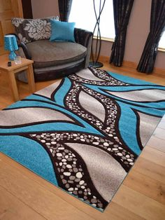 Teal Blue Light Brown Cream Modern Soft Thick Rugs Small Extra Large Mats