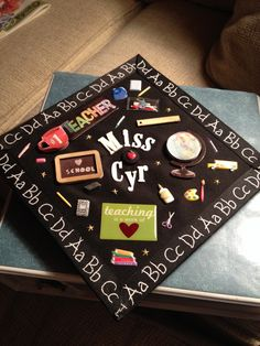 Education major graduation cap! Ribbon border- Michael's craft store Stickers- Michael's craft store (scrapbook section) #cap #decorating #education #major