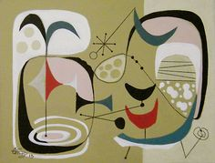 El Gato Gomez Painting Mid Century Googie Modern Eames Retro 50s Abstract Atomic | eBay