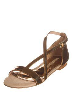 Trendy Sandalen Damen Schuhe Pantoletten Pumps 0989 Bronze 36
