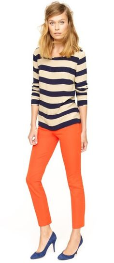 I need more colored trousers in my life. And some more navy stripes wouldn't hurt either(;