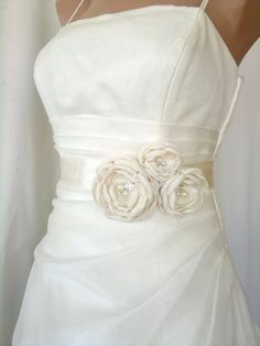 Handcrafted Joint Flowers Ivory Bridal Sash Belt by elitewomen, $39.50