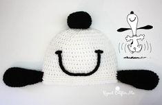 Crochet Snoopy Happy Dance Hat - Repeat Crafter Me free patttern Easy Crochet Hat, Crochet Amigurumi, Crochet Gloves, Crochet Beanie, Crochet For Kids, Crochet Crafts, Crochet Baby, Crochet Projects, Knitted Hats