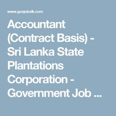 Accountant (Contract Basis) - Sri Lanka State Plantations Corporation - Government Job Vacancies in Sri Lanka