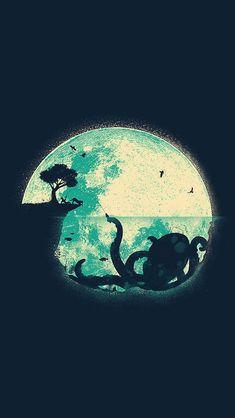 Octopus;  iPhone Wallpaper.