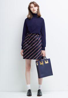 Le Ciel Bleu Asymmetrical Turtleneck Knit, Regimental Striped Skirt and Sophie Hulme tote