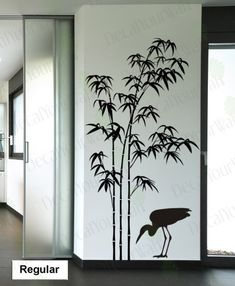 Wall Decal Tree Bamboo Large Removable Sticker with a Crane Bird Mural Home Decor Wall Art Stickers Living room Bedroom Office Wall Decal Tree Bamboo is an authentic lifelike decal. A beautiful sticker for any plain wall. This delicate Wall decal bamboo tree is perfect for bringing