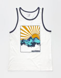 fcb1b0ddf1 BLUE CROWN Cali Sunrise Mens Tank - WHITE - 278930150