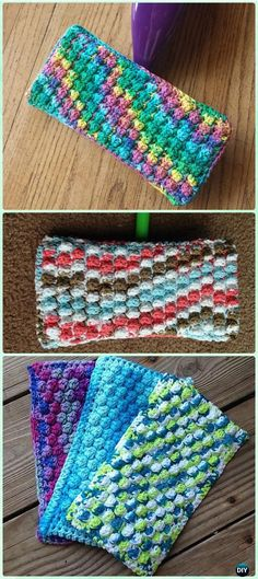 Cotton yarn is good for these, and you can just toss them in the hot laundry cycle with your dishrags :) Crochet Bobble Swifter Swiffer Pad Free Pattern - Crochet Swiffer Pads&Covers Free Patterns Crochet Diy, Crochet Bobble, Crochet Simple, Stitch Crochet, Crochet Gratis, Bobble Stitch, Crochet Dishcloths, Crochet Home, Crochet Ideas