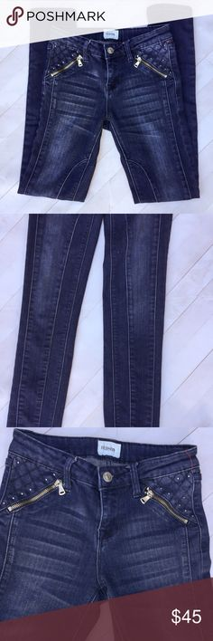 "⚡️New arrival!⚡️Girls Hudson Skinny Moto Jeans Girls' Hudson skinny jeans. Moto style. Fun seaming down front of legs. Zippered front pockets. Crystal accents. Whiskering and fade down leg. 5 pocket styling. Elastic strip at waist to adjust waist size. Size 12. Measurements laying flat: 12.5"" waist, 7.5"" front rise, 29"" inseam, 5"" ankle opening. Great condition. Super fun!! Hudson Jeans Bottoms Jeans"