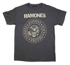 Officially licensed Ramones t-shirt featuring a distressed front print of the iconic Ramones logo seal. Men's standard fit, 100% cotton t-shirt. Gray color.