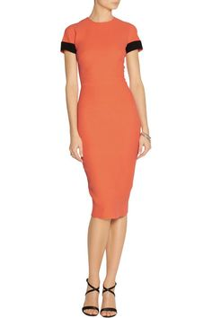 Victoria Beckham | Contrast-trimmed silk and wool-blend dress | NET-A-PORTER.COM