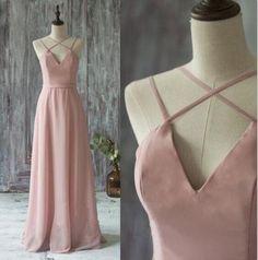L97 Simple Spaghetti Straps V-neck Prom Dresses,Chiffon Prom Dresses in Dusty Pink