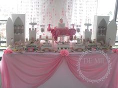 Pretty dessert table at a pink fairy birthday party! See more party planning ideas at CatchMyParty.com!