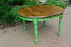Annie Sloan chalk painted kitchen table in Antibes Green with dark wax - I want to get a round table for my kitchen. Chalk Paint Furniture, Cheap Furniture, Green Furniture, Funky Furniture, Furniture Online, Kitchen Furniture, Luxury Furniture, Office Furniture, Annie Sloan Chalk Paint Kitchen