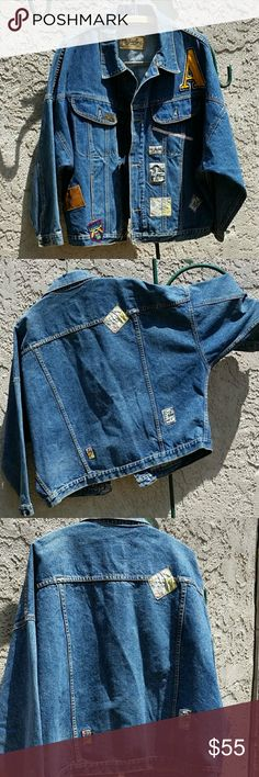 """Vintage 80s Mens Denim Patched Jacket Mens Vintage Denim Jacket 1980s Gasoline Jacket Factory Theme Jacket with Patches Vintage Mens Wear Moto Theme Transportation Accessories Sz M. Made in Hong Kong. 80s modified bat wing sleeves. Great gas pump buttons. Measurements taken flat: Pit to pit 26"""" Shoulders 28"""" Length 25"""" Good condition with no stains, holes or tears. Gasoline Jackets & Coats"""