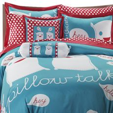 aqua and RED bedding