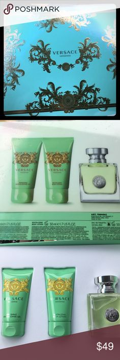 Versace Versense Perfume Gift Set Brand new never used in box.  All full size items.  50 ml Perfume. Versace Accessories
