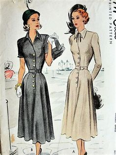 1940s dresses with belts 1940S LOVELY Belted Dress McCall 7135 Vintage Sewing Pattern Bust 32. (n.d.). Retrieved October 12, 2017, from http://www.sovintagepatterns.com/1940S-LOVELY-Belted-Dress-McCall-7135-Vintage-Sewing-Pattern-Bust-32_p_10390.html