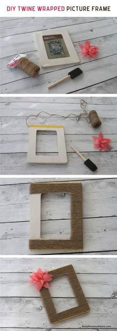 DIY Twine Wrapped Picture Frame on BusyMommyMedia.com   This would make such a cute homemade gift idea!