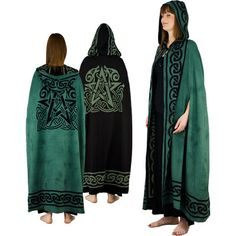 Stunning green and black cotton cloak completely wraps you from head to toe in vibrant color. Green and black cloak features a hood and Pentacle design on the back. Completely reversible to be worn with either green side or black side. Measures 24 inches wide by 52 inches in length.