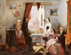 """Unknown Artist 19th-Century American School Fredericksburg, VA Family in a War-Torn House 1860s - Girl with medici belt is wearing a high fashion outfit - the """"blouse"""" is probably silk"""