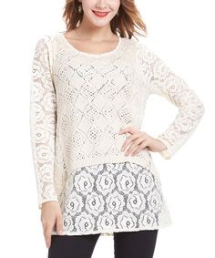 Look what I found on #zulily! Beige Crochet Lace-Layered Tunic #zulilyfinds