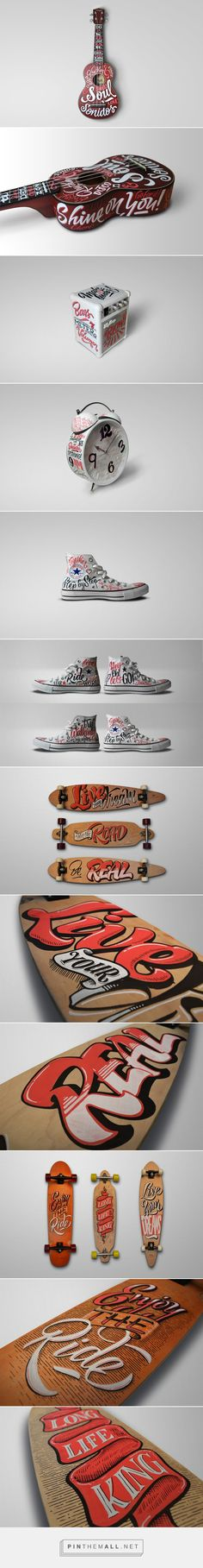 Lettering sobre objetos on Behance... - a grouped images picture - Pin Them All