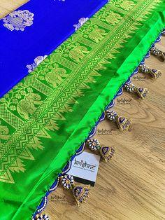 Krishne Saree Kuchu: Saree Tassels | Laces | Workshop | Bengaluru Saree Tassels Designs, Saree Kuchu Designs, Saree Blouse Neck Designs, Fancy Blouse Designs, Bridal Blouse Designs, Lehenga Saree Design, Embroidery On Clothes, Hand Embroidery, Choli Dress