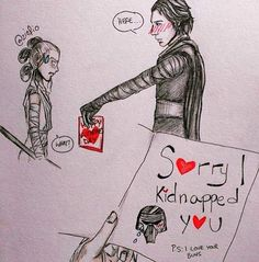 Artist:@ziofio ( this is absolutely adorable. Apologetic Kylo is wonderful)