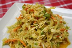Just like the one we had at Rendezvous in Memphis! Like no other coleslaw, it has a spicy mustard dressing. A great side for your BBQ cookout!
