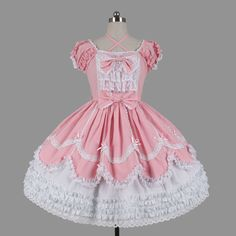 Short Puff Sleeves sweet pink and white lace Ruffle and Bow Sash lolita dress