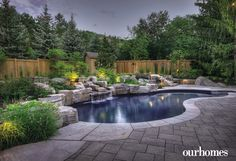 View photography and learn about pools & spas designed and built by The Landmark Group. Natural Landscaping, Stone Landscaping, Waterfall Features, Vinyl Pool, Home Garden Design, Spa Design, Landscape Architecture, Solar Panels, Swimming Pools