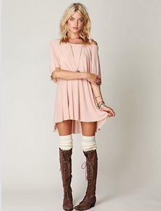 Cute peach dress with white socks & brown boots