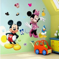 Mickey Mouse Minnie Duck PVC Mural Wall Sticker Decals Kids Nursery Decor for sale online Baby Room Wall Decals, Kids Room Wall Stickers, Nursery Room Decor, Vinyl Wall Decals, Vinyl Art, Kids Bedroom, Bedroom Decor, Nursery Decals, Pvc Vinyl