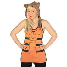 THERE IS A DETACHABLE TAIL!    Rocket Raccoon Ladies' Hooded Tank Top | ThinkGeek