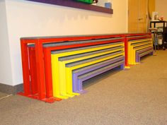 These benches stack away great for the kids room. Kids Church Decor, Kids Church Rooms, Kids Decor, Kids Church Stage, Children Church, Church Ideas, Kids Room, Kids Bench, Classroom Furniture