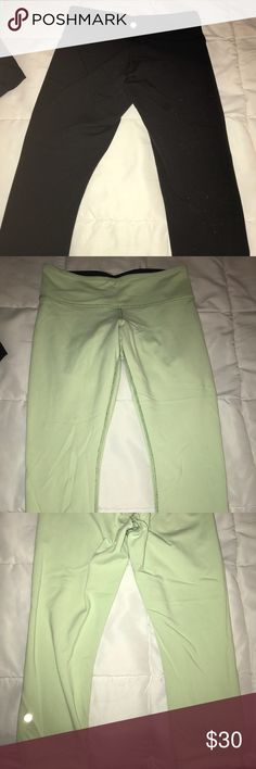 Lululemon crop pants Lululemon reversible crop pants size 8 Reversible colors: black and green Some pilling in the crotch/back area on the black side lululemon athletica Pants Leggings