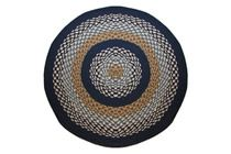 1492 - Navy & Block Bands Round Braided Rug This high-quality braided rug is made by American workers at our family-owned business in the North Carolina Mountains. It is made from Naturalized Olefin, which is a synthetic, polypropylene yarn that is extremely durable, yet soft enough for use indoors. It is color fast and washable. Visit www.stroudbraided... for more details