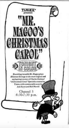 Ad for the debut of Mr. Magoo's Christmas Carol on WNBQ-TV Channel 5 on December 18, 1962.