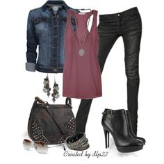 Casual Outfit with Jean Jacket, Leather Bag, Boots, Bracelet, Earrings' on Wish...rocker chic!