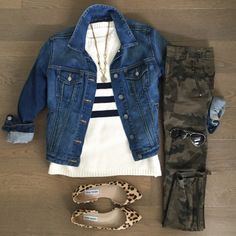 chicwish striped sweater zara camo pants outfit